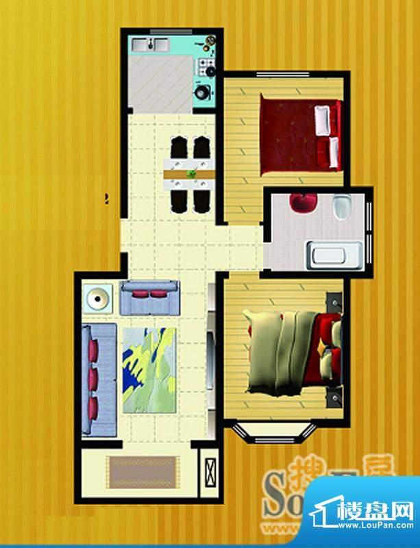 郡望花园K4户型 2室2厅1卫1厨面积:90.00平米