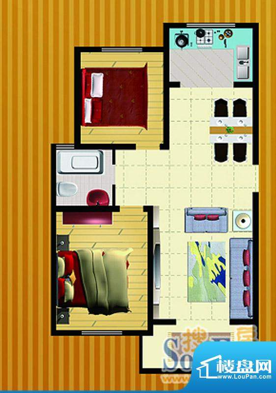 郡望花园K5户型 2室2厅1卫1厨面积:90.61平米