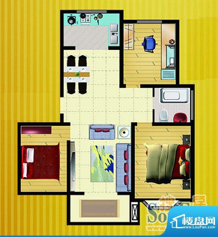 郡望花园K6户型 3室2厅1卫1厨面积:110.10平米