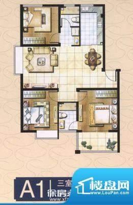 郡望花园 3室 户型图面积:108.00平米