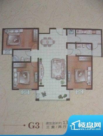郡望花园 3室 户型图面积:130.00平米