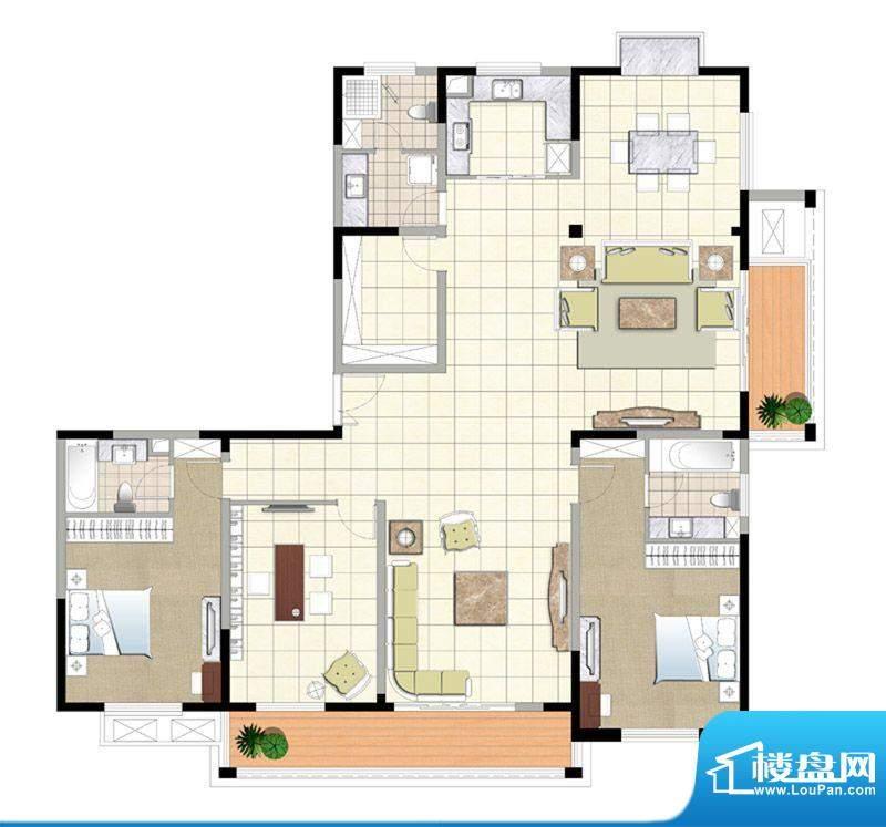 金色森林四期A户型 2室2厅2卫1面积:230.00平米