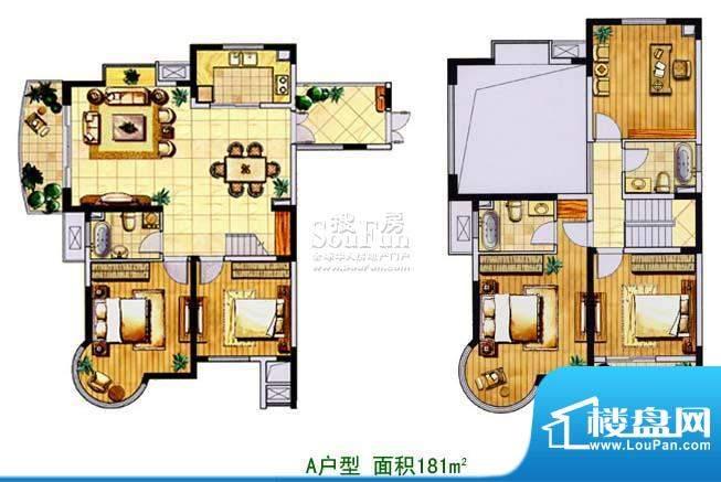 金色森林复式A 5室2厅3卫1厨面积:181.00平米