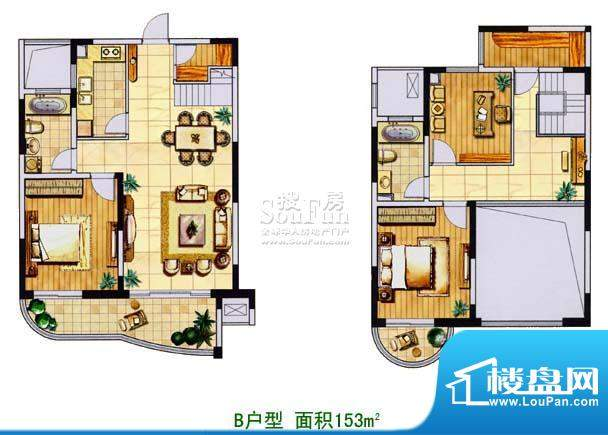 金色森林复式B 3室2厅2卫1厨面积:153.00平米
