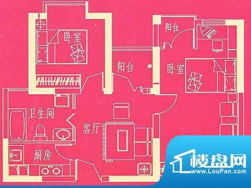 东方国际广场公寓户型 C 2室2厅面积:72.90平米