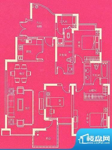 东方国际广场豪宅户型 A 4室2厅面积:135.92平米