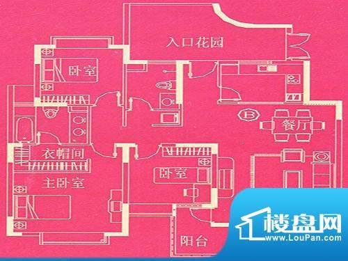 东方国际广场豪宅户型 B 3室2厅面积:129.89平米