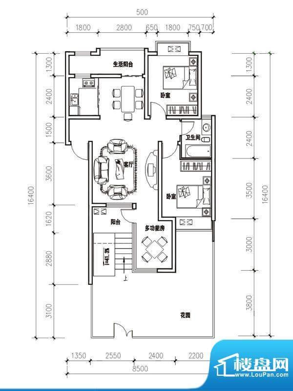 立立依山郡户型图4号楼A栋1-1 面积:82.37平米