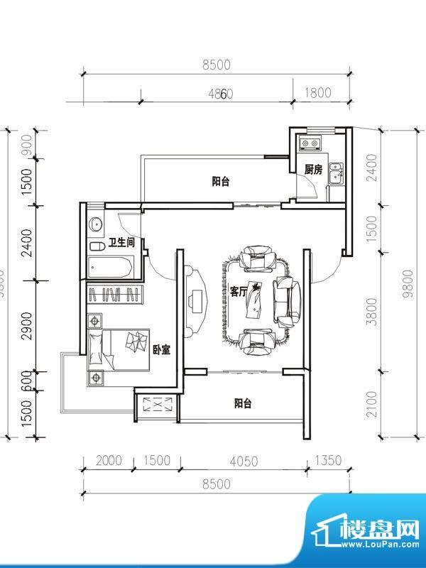 立立依山郡户型图4号楼A栋6-1 面积:54.17平米
