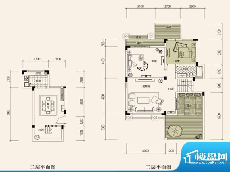 鉴山国际一期户型图C叠加别院1面积:92.24平米