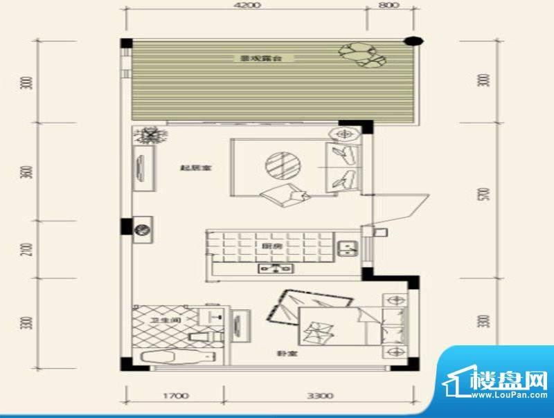 鉴山国际一期户型图C2合院洋房面积:52.02平米