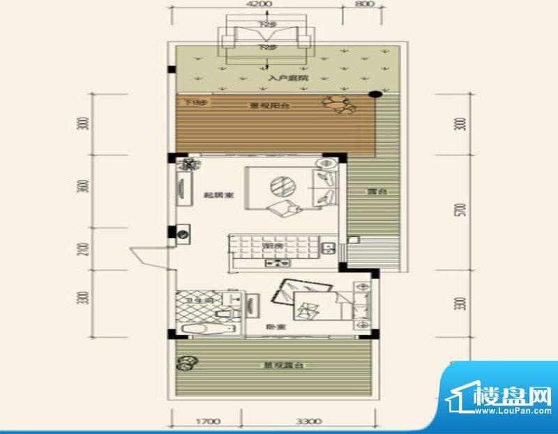 鉴山国际一期户型图C1合院洋房面积:59.09平米