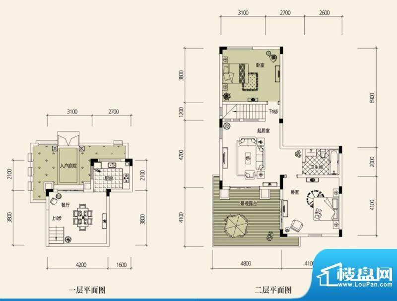 鉴山国际一期户型图B叠加别院1面积:76.25平米