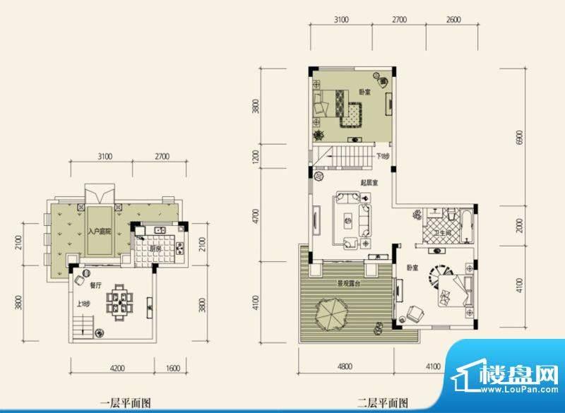 鉴山国际一期户型图B叠加别院 面积:71.95平米