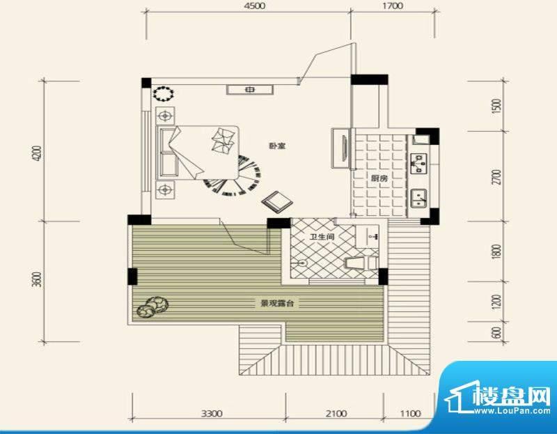 鉴山国际一期户型图B4合院洋房面积:34.56平米