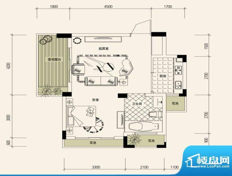 鉴山国际一期户型图B3合院洋房面积:49.02平米