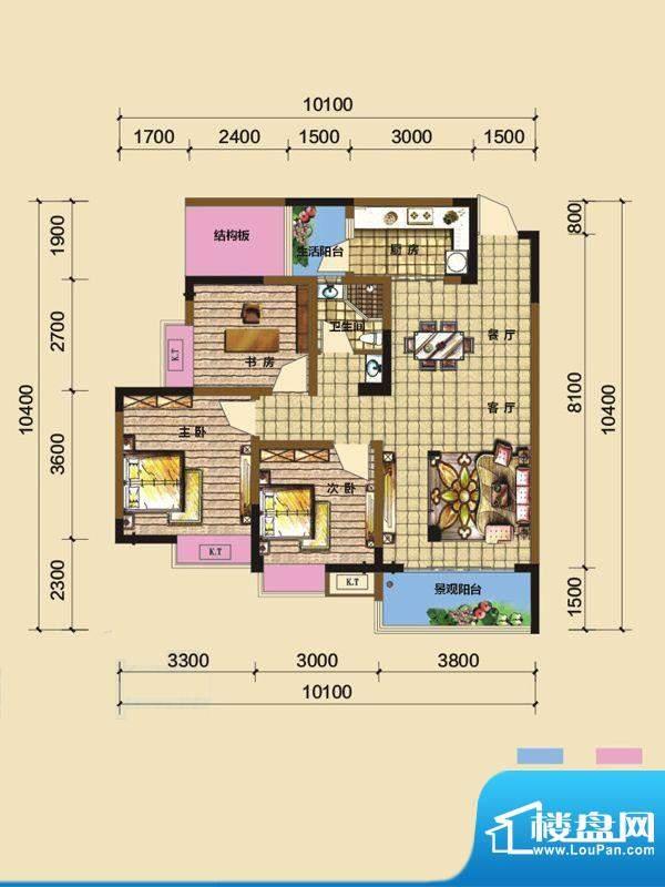 綦江金域蓝湾户型图一期2号楼标面积:91.59平米