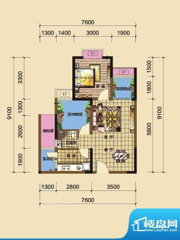 綦江金域蓝湾户型图一期4号楼标面积:56.33平米