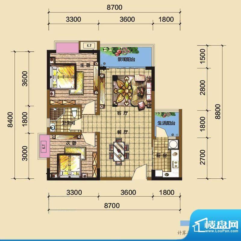 綦江金域蓝湾户型图一期4号楼标面积:77.60平米