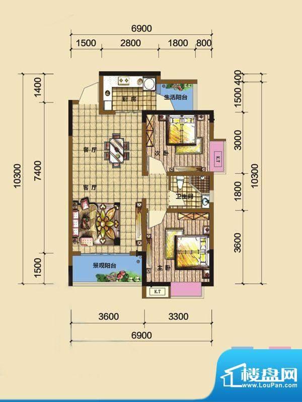 綦江金域蓝湾户型图一期3号楼标面积:76.12平米