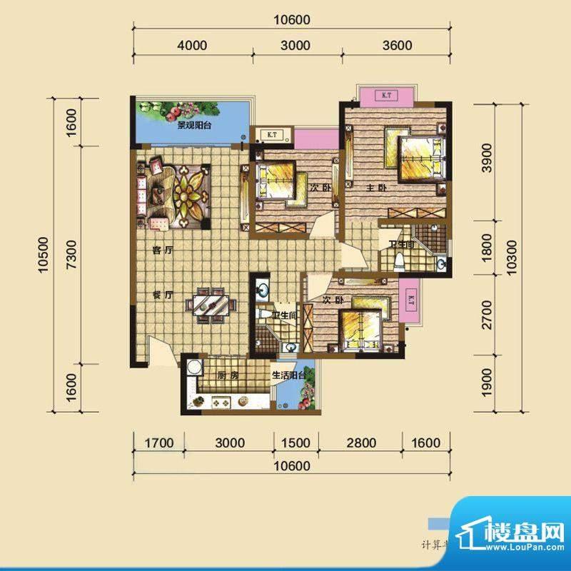 綦江金域蓝湾户型图一期3号楼标面积:104.15平米
