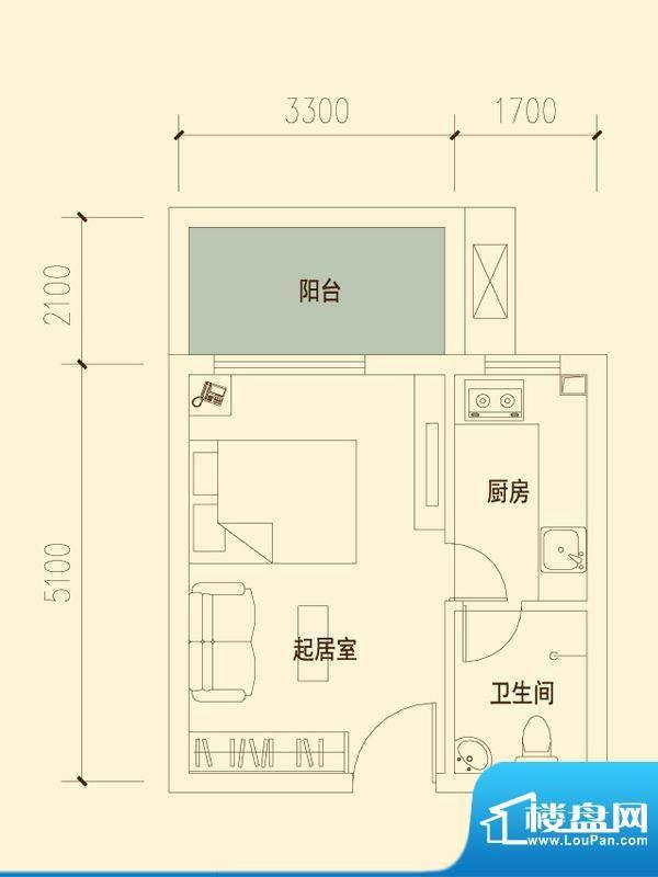 千山明月清泉户型图一期6#标准面积:37.65平米
