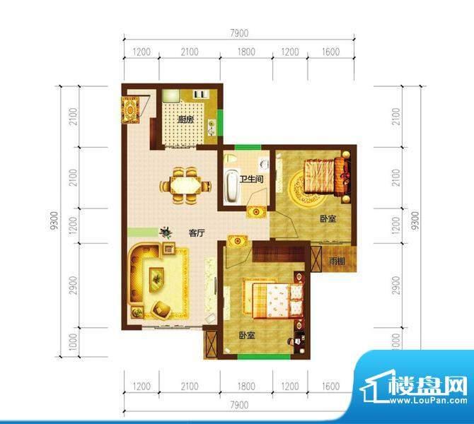 德宜信锦绣天台户型图一期B栋标面积:54.25平米