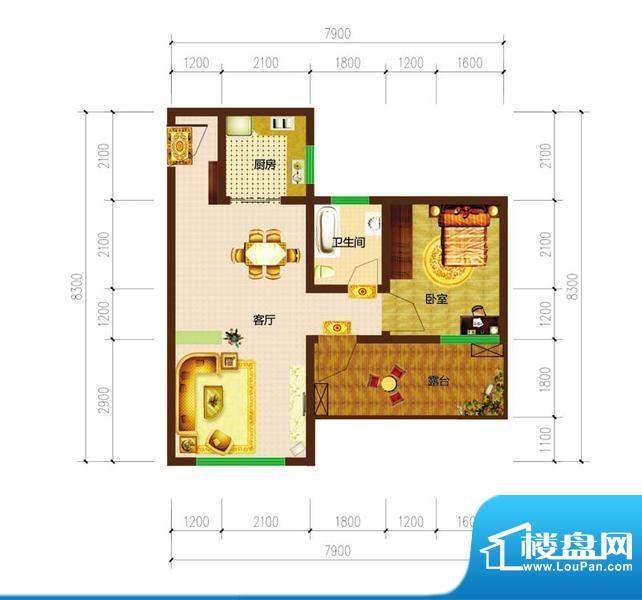德宜信锦绣天台户型图一期B栋标面积:42.57平米
