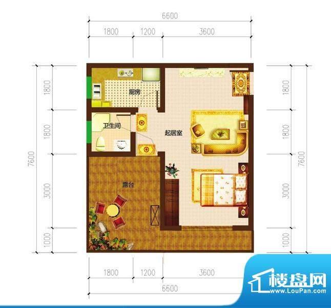 德宜信锦绣天台户型图一期C栋标面积:34.56平米