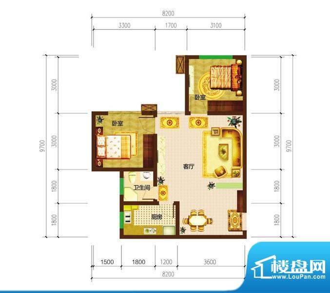 德宜信锦绣天台户型图一期C栋标面积:57.36平米