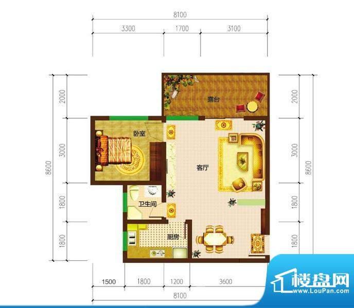 德宜信锦绣天台户型图一期C栋标面积:48.06平米