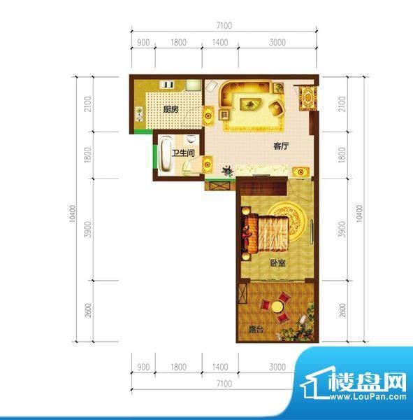 德宜信锦绣天台户型图一期B栋标面积:37.77平米