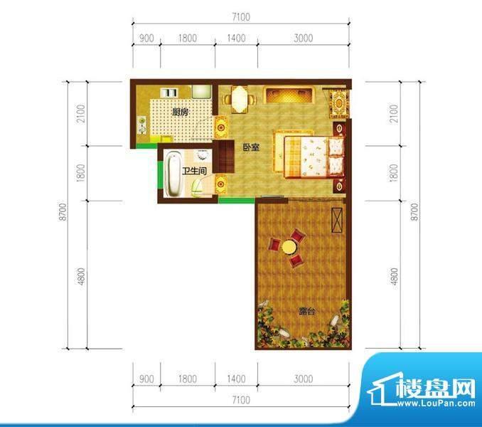 德宜信锦绣天台户型图一期B栋标面积:26.07平米