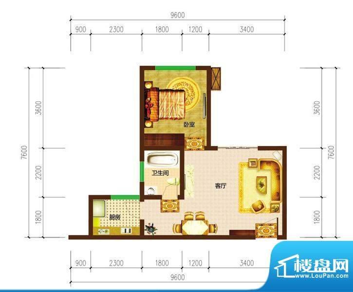 德宜信锦绣天台户型图一期B栋标面积:40.54平米