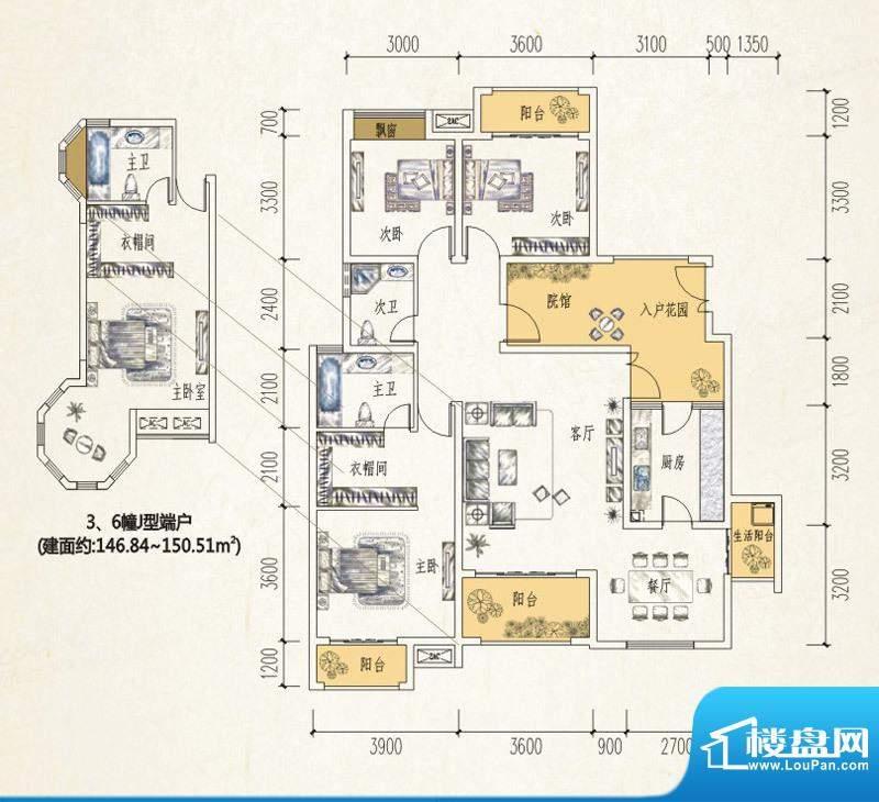 江润地中海岸户型图一期3、6幢面积:125.02平米