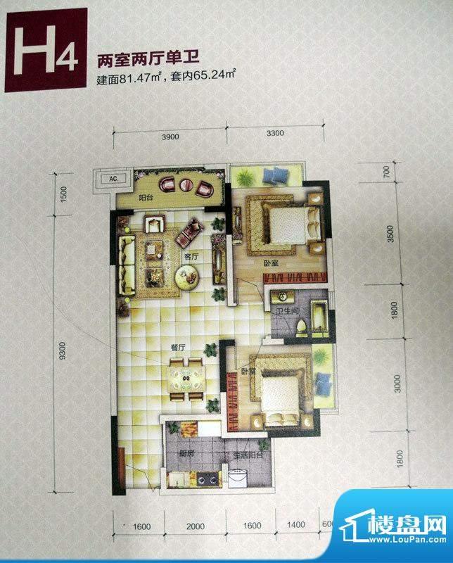 恒春凤凰城户型图一期6、9号楼面积:81.47平米