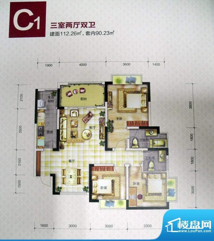 恒春凤凰城户型图一期6、9号楼面积:112.26平米