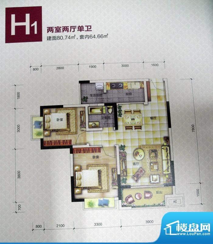 恒春凤凰城户型图一期6、9号楼面积:80.74平米