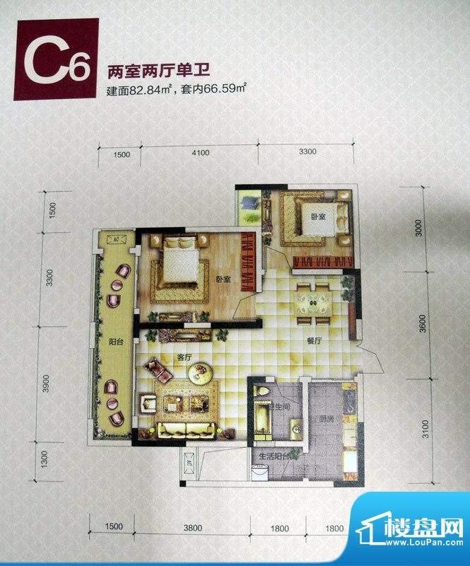 恒春凤凰城户型图一期6、9号楼面积:82.84平米