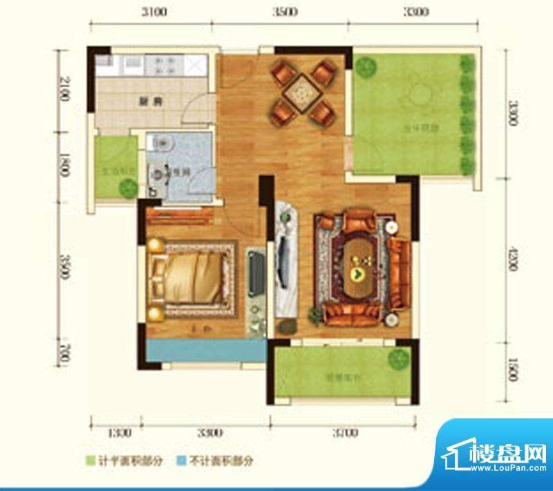 澳海水岸蓝山户型图二期6号楼标面积:70.00平米