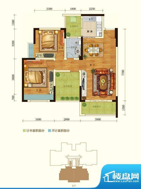 澳海水岸蓝山户型图二期10号楼面积:88.39平米