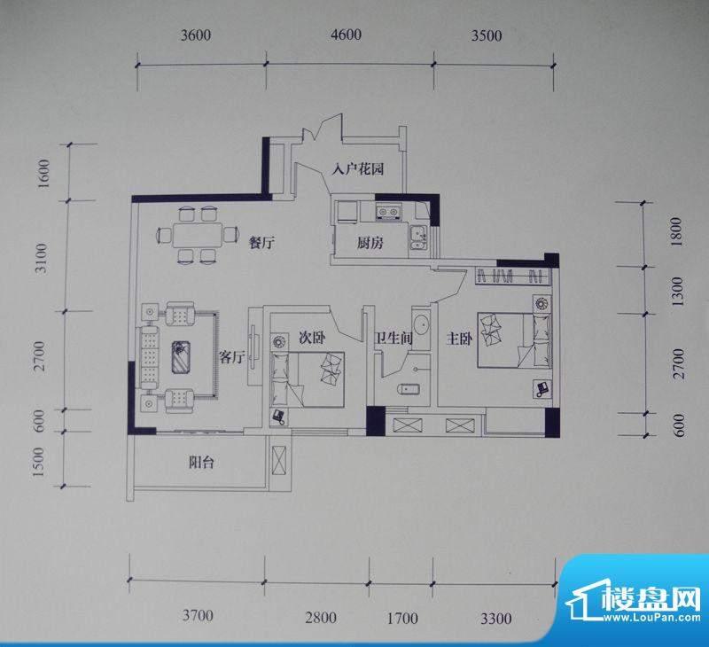 滨江国际花园户型图二期B2栋标面积:85.60平米