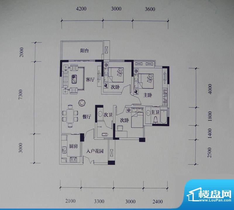 滨江国际花园户型图二期B2栋标面积:112.30平米
