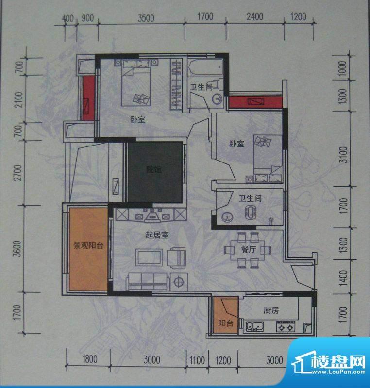 麦格蓝山郡户型图一期2号楼标准面积:93.91平米