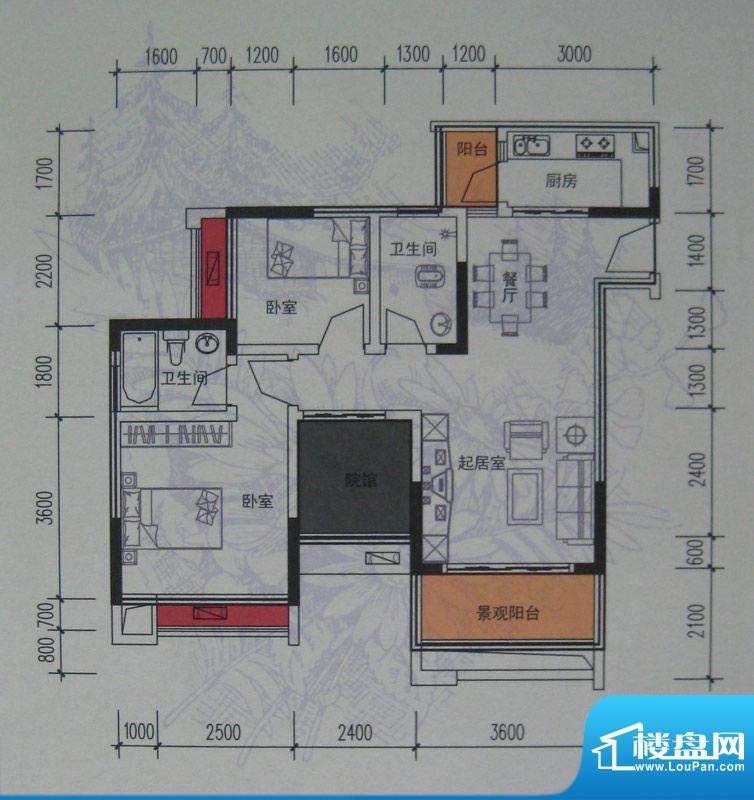 麦格蓝山郡户型图一期2号楼标准面积:91.77平米