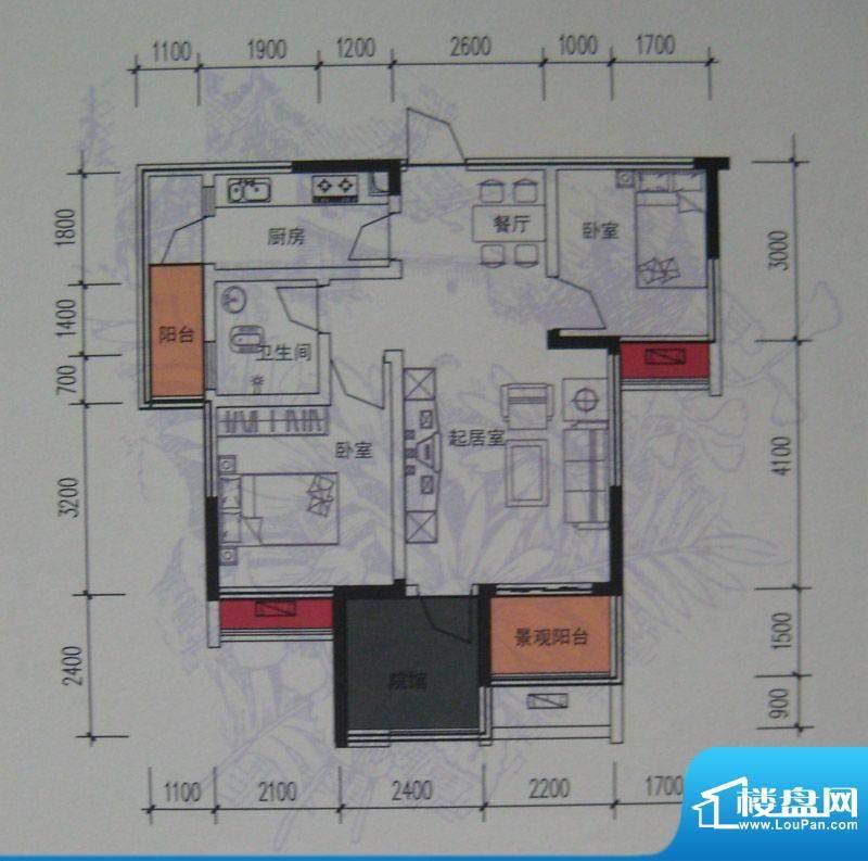 麦格蓝山郡户型图一期2号楼标准面积:82.00平米