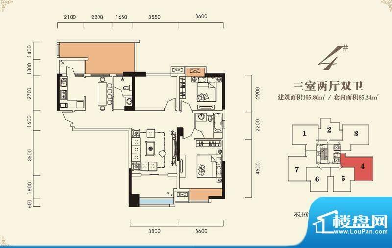 海怡江山户型图一期2号楼标准层面积:105.86平米