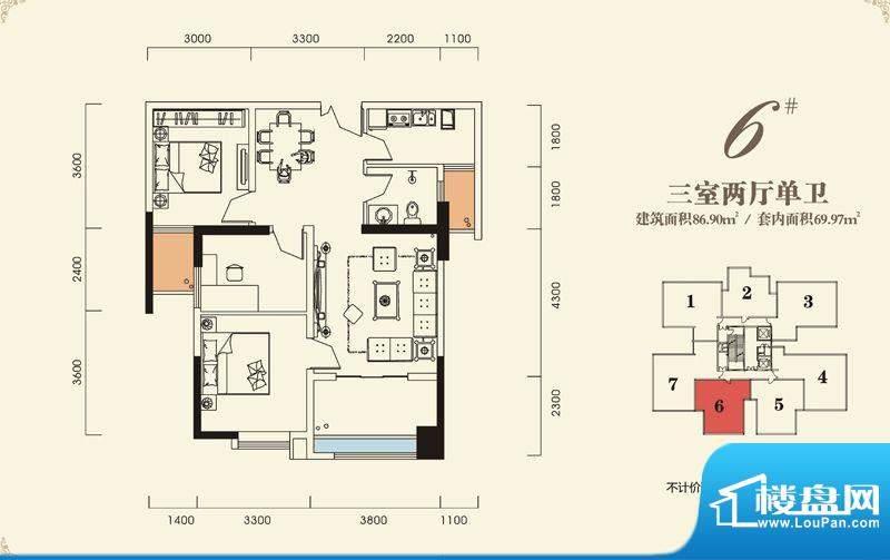 海怡江山户型图一期2号楼标准层面积:86.90平米