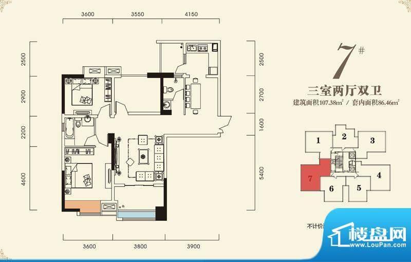 海怡江山户型图一期2号楼标准层面积:107.38平米
