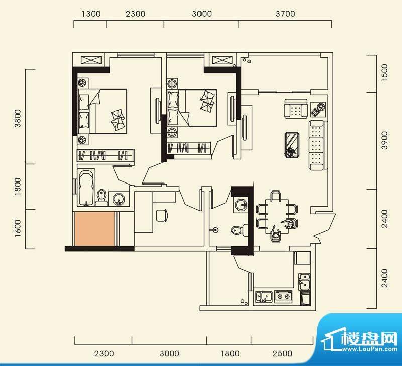 海怡江山户型图一期1号楼标准层面积:95.54平米